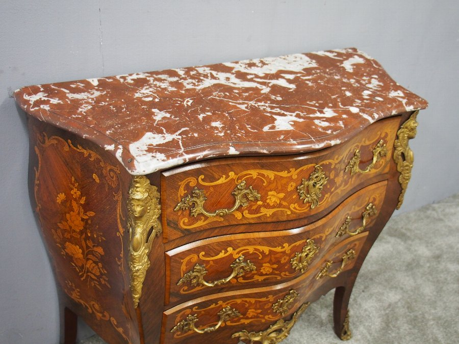 Antique French Marble Top Kingwood Commode