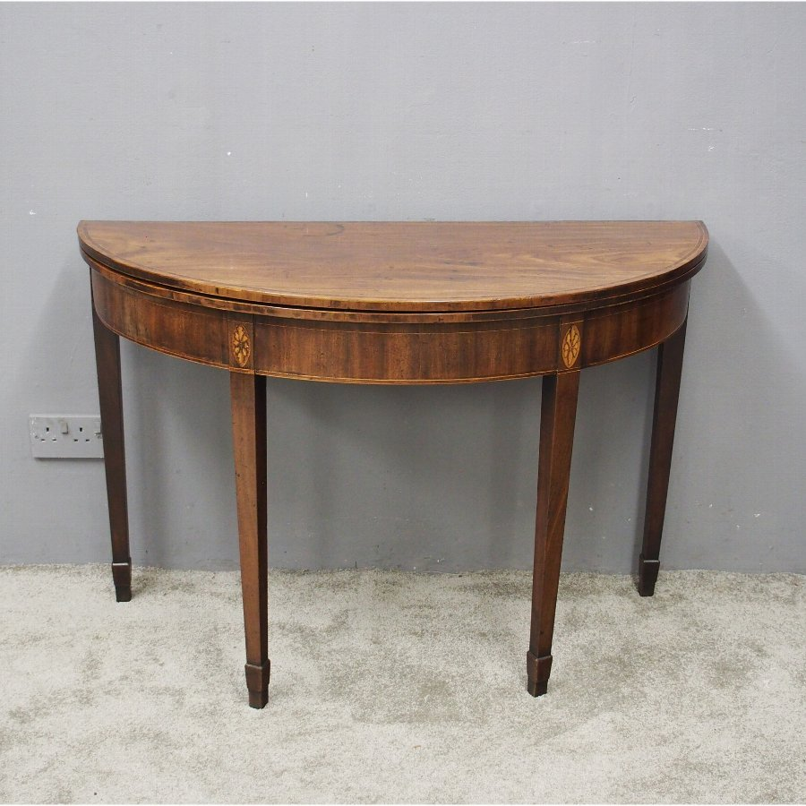 George III Mahogany Demi-Lune Tea Table