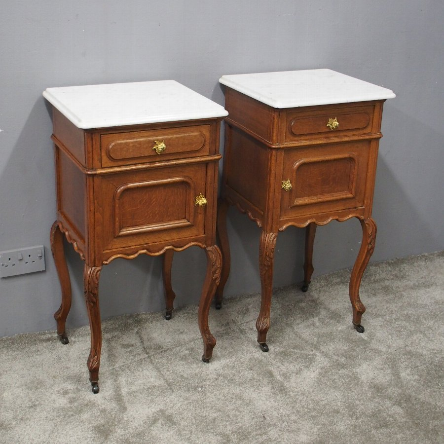 Pair of French Marble Top and Oak Bedside Cabinets