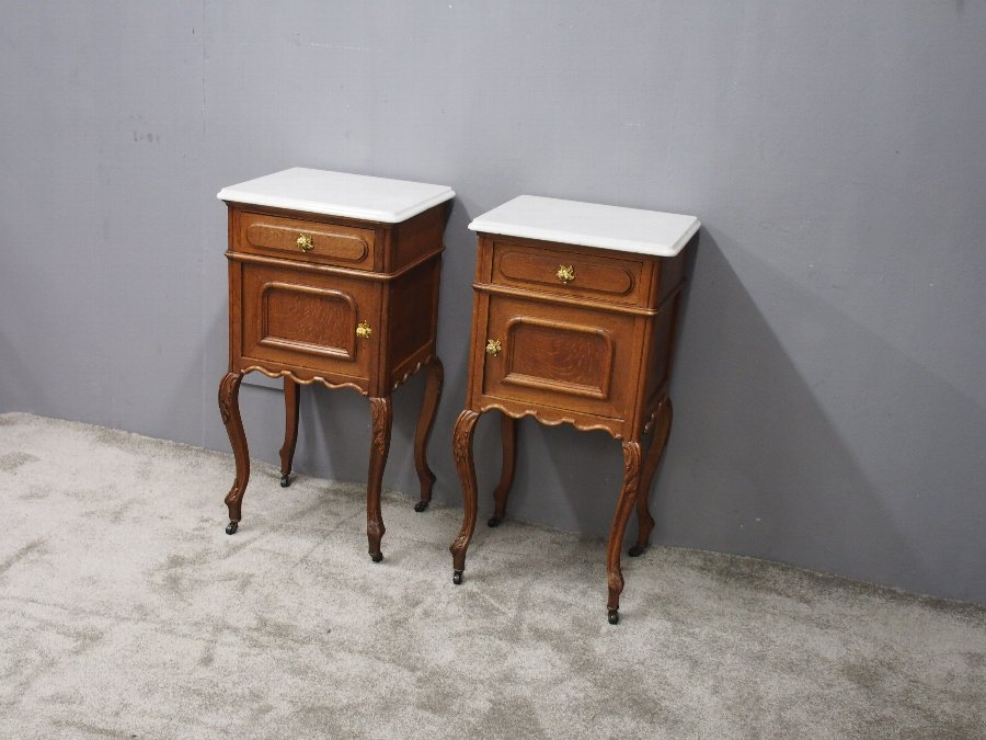 Antique Pair of French Marble Top and Oak Bedside Cabinets