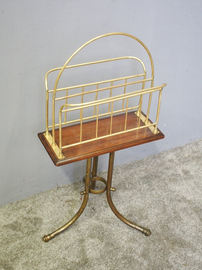 Antique Brass and Oak Revolving Magazine Rack