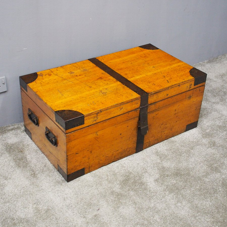 Victorian Oak and Steel Bound Trunk
