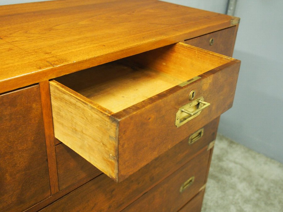 Antique Teak Brass Bound Military Chest