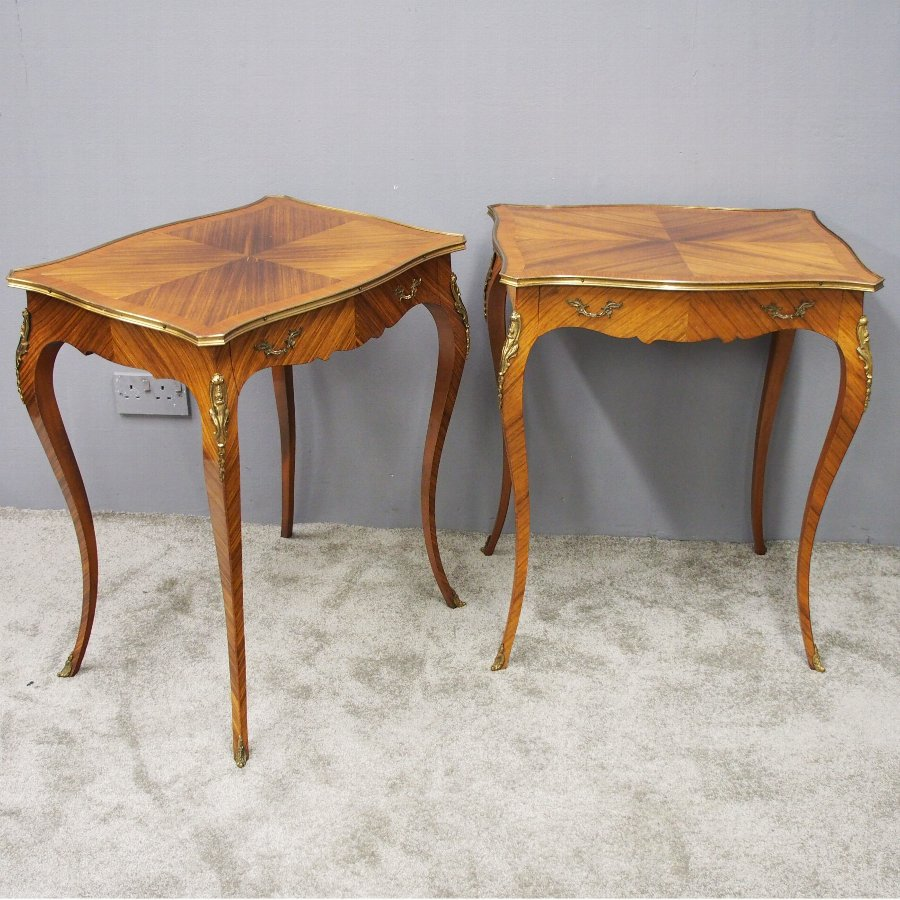 big sale f3c46 4e87e Pair of French Kingwood Occasional Tables