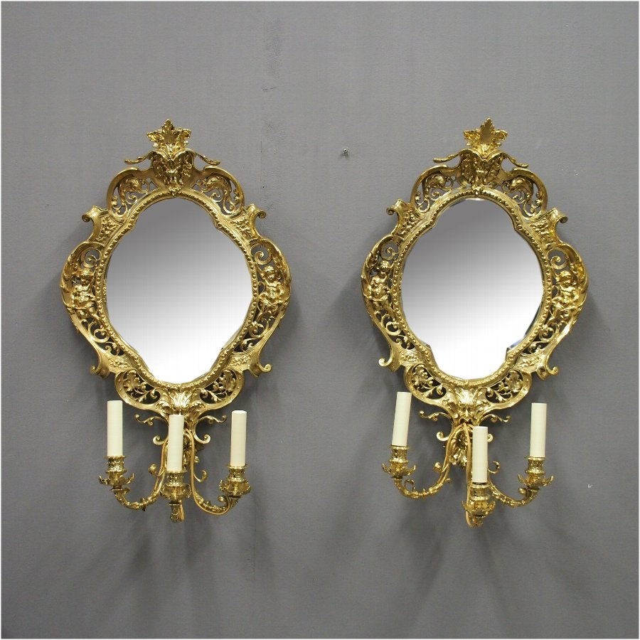 Pair of Victorian Cast Brass Mirror Sconces