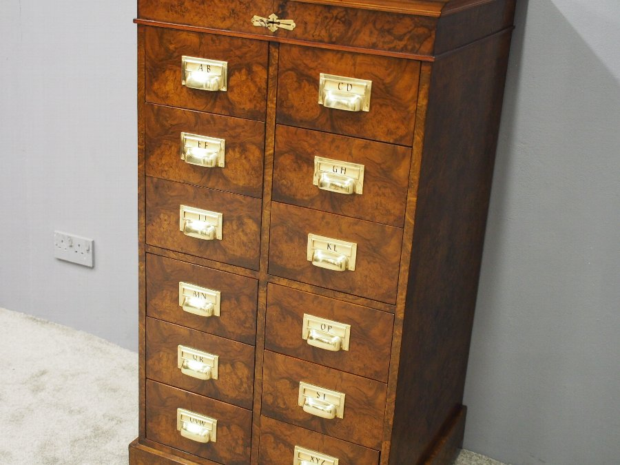 Antique Victorian Burr Walnut Filing Cabinet or Office Chest
