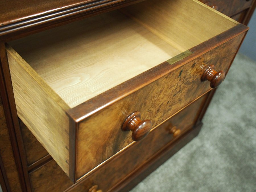 Antique Mid Victorian Burr Walnut Chest of Drawers