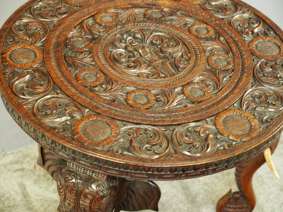 Antique Elephant Design Anglo-Indian Occasional Table