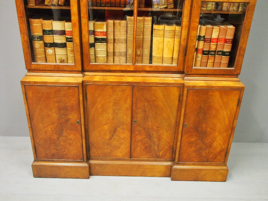 Antique Pepys Style Reverse Breakfront Cabinet Bookcase
