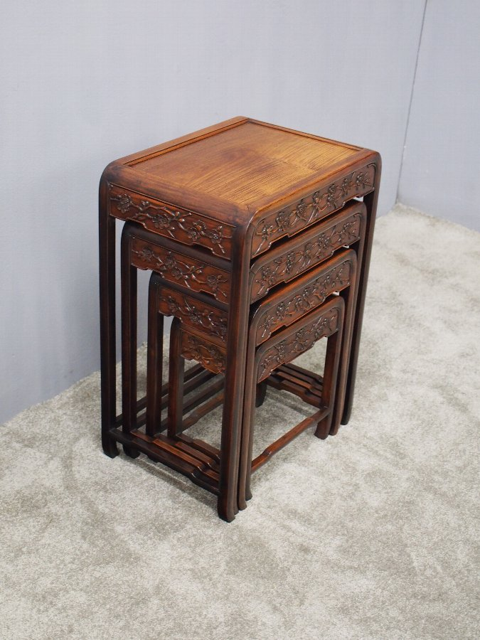 Antique Nest of 4 Chinese Hongmu Tables