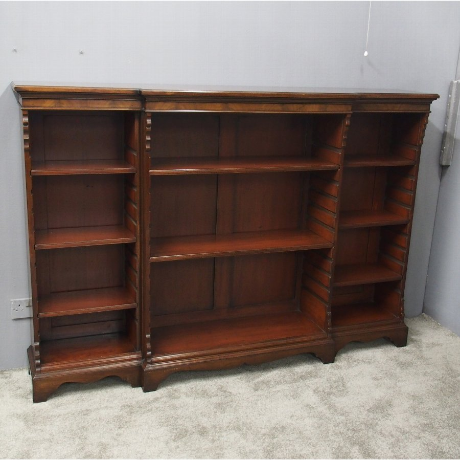Edwardian Mahogany Breakfront Open Bookcase