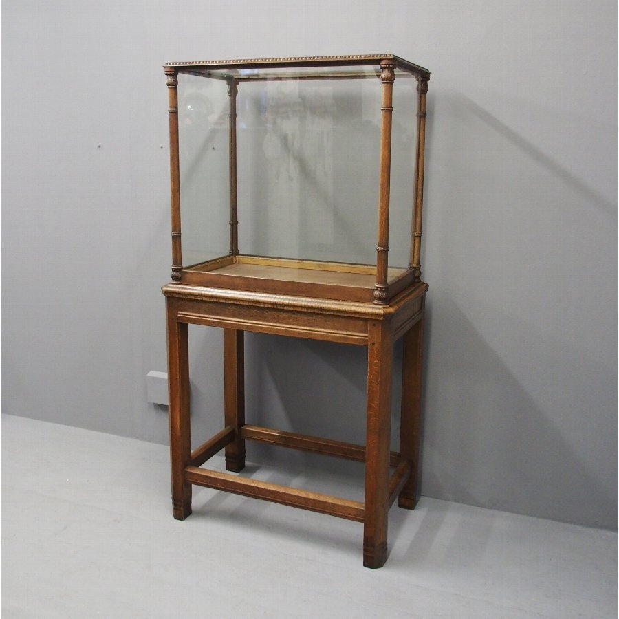Oak Display Cabinet on Stand