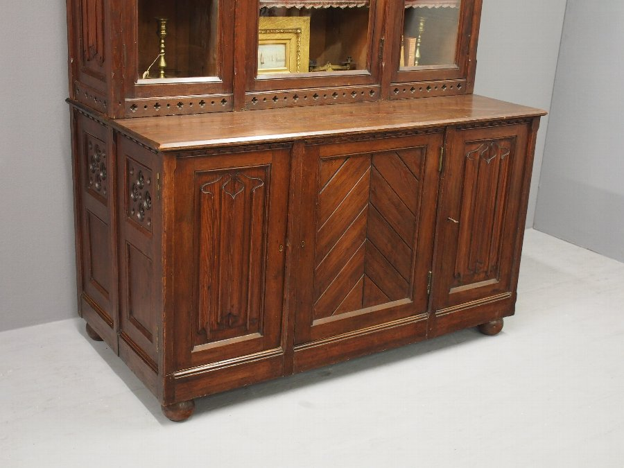 Antique Gothic Scottish Pitch Pine Cabinet Bookcase