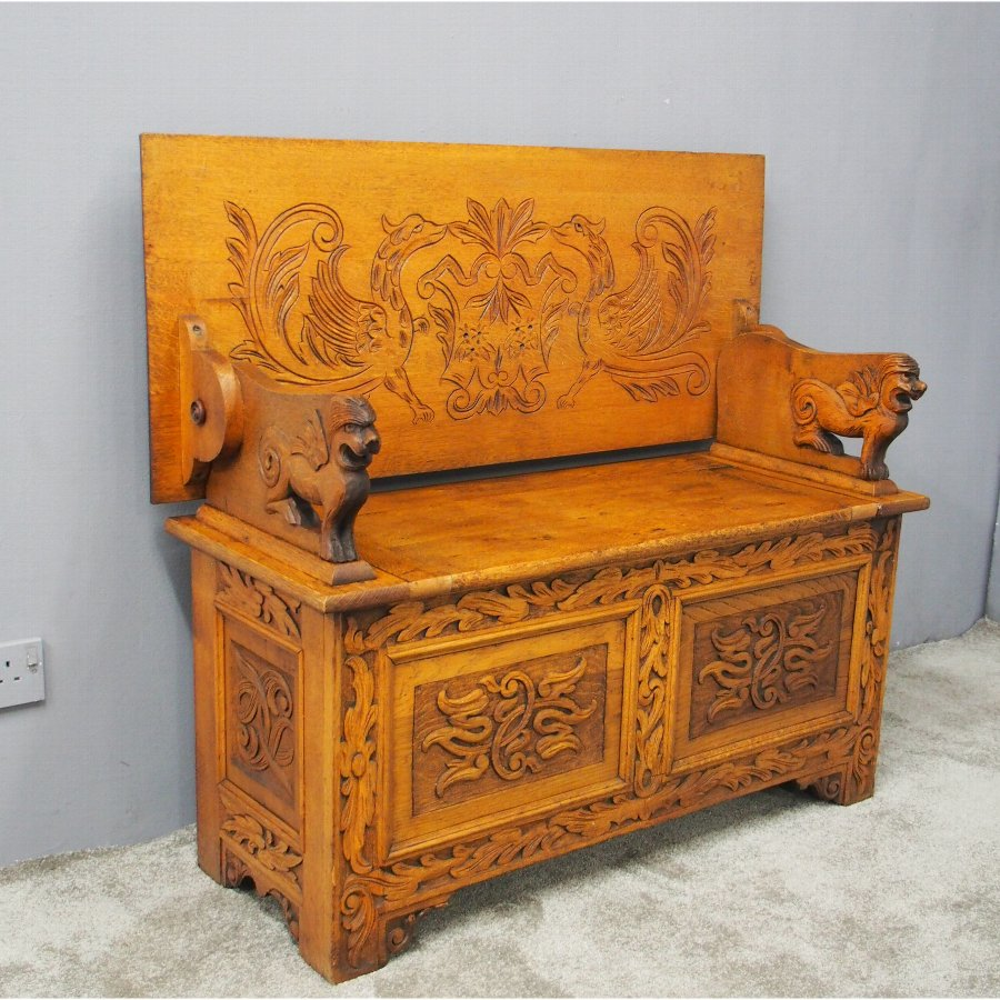 Golden Oak Monks Bench