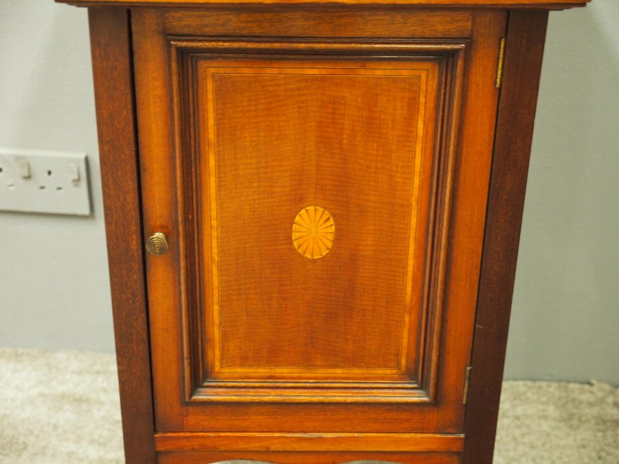 Antique Sheraton Style Inlaid Mahogany Bedside Locker