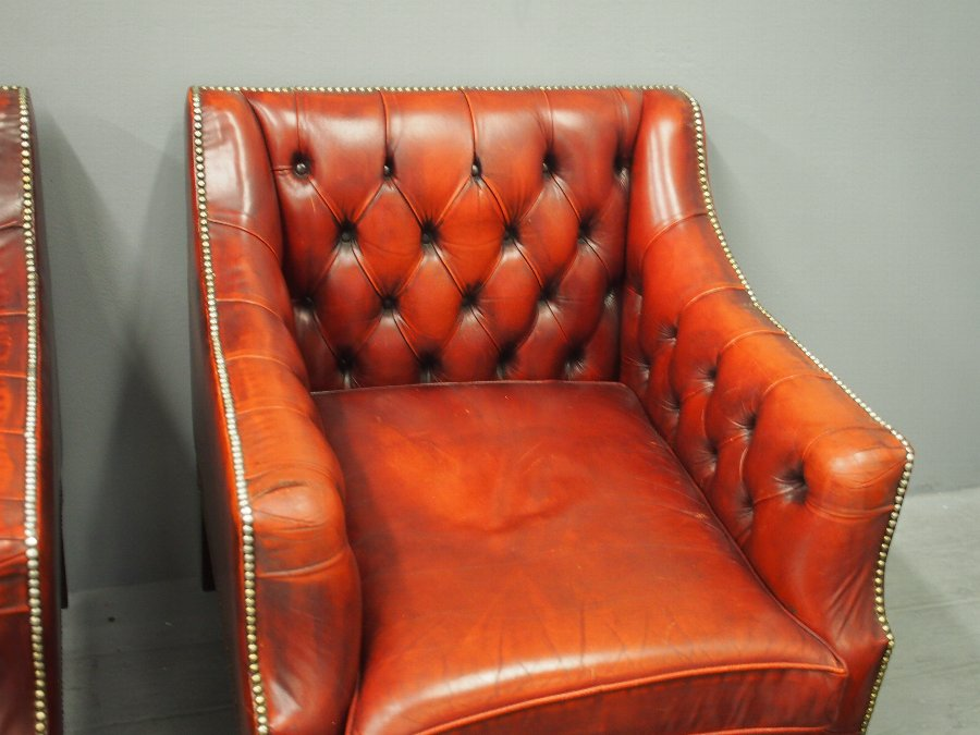 Antique Pair of Georgian Style Red Leather Armchairs