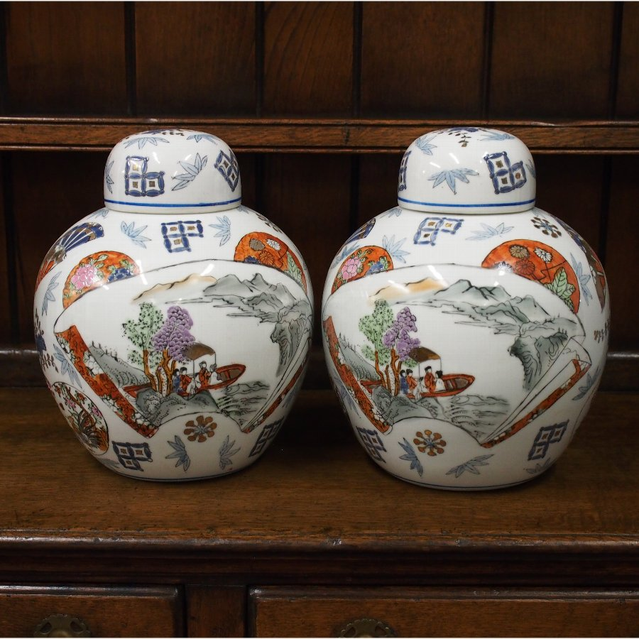 Pair of White Porcelain Painted Ginger Jars