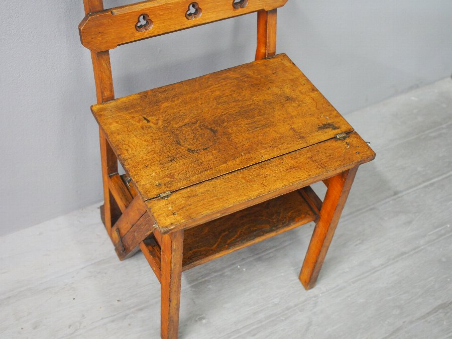 Antique Aesthetic Movement Oak Metamorphic Chair