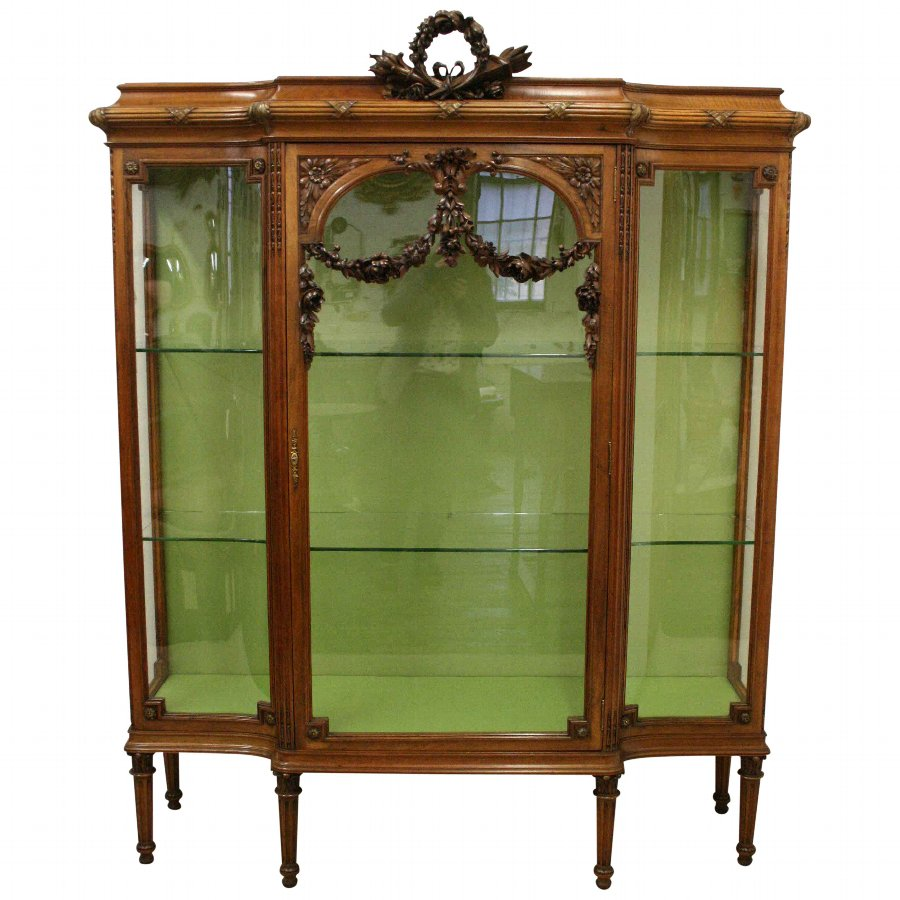 French Carved Walnut Display Cabinet
