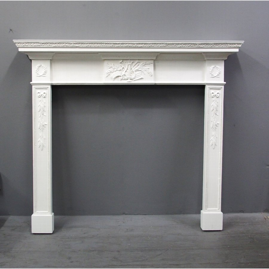 Adams Style Painted Pine Mantelpiece