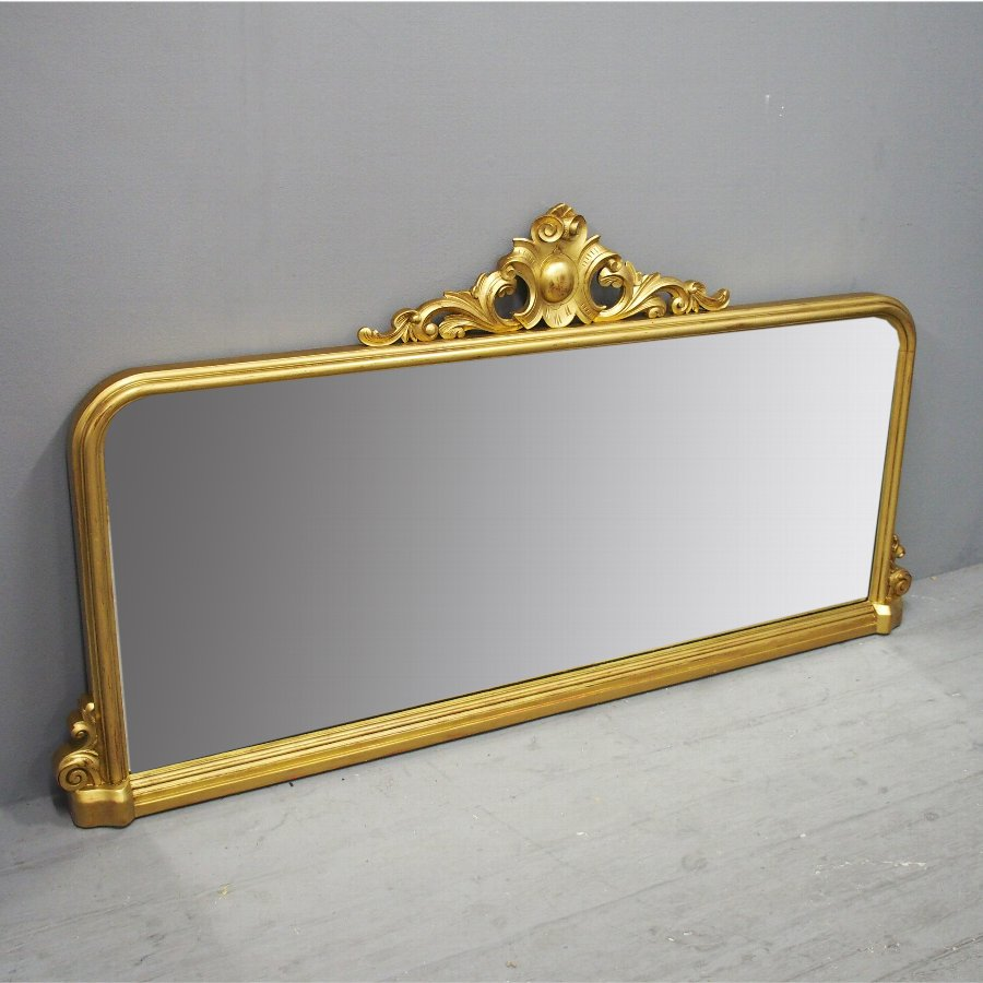 Victorian Carved Giltwood Overmantel Mirror