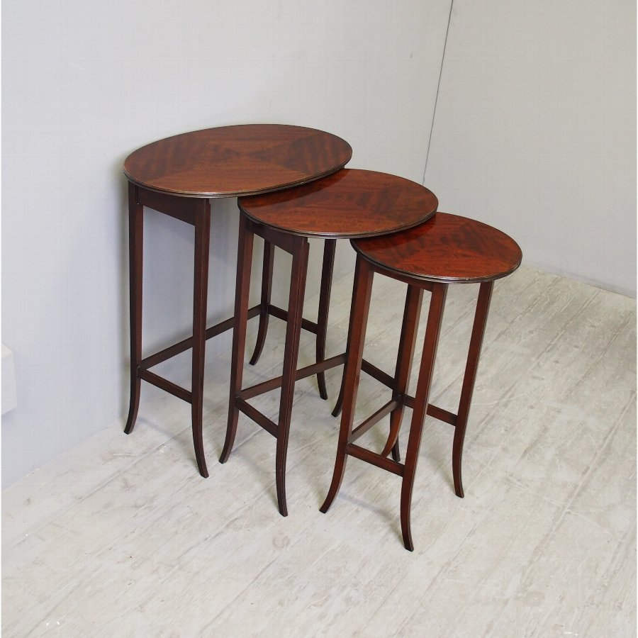 Nest of 3 Mahogany Occasional Tables