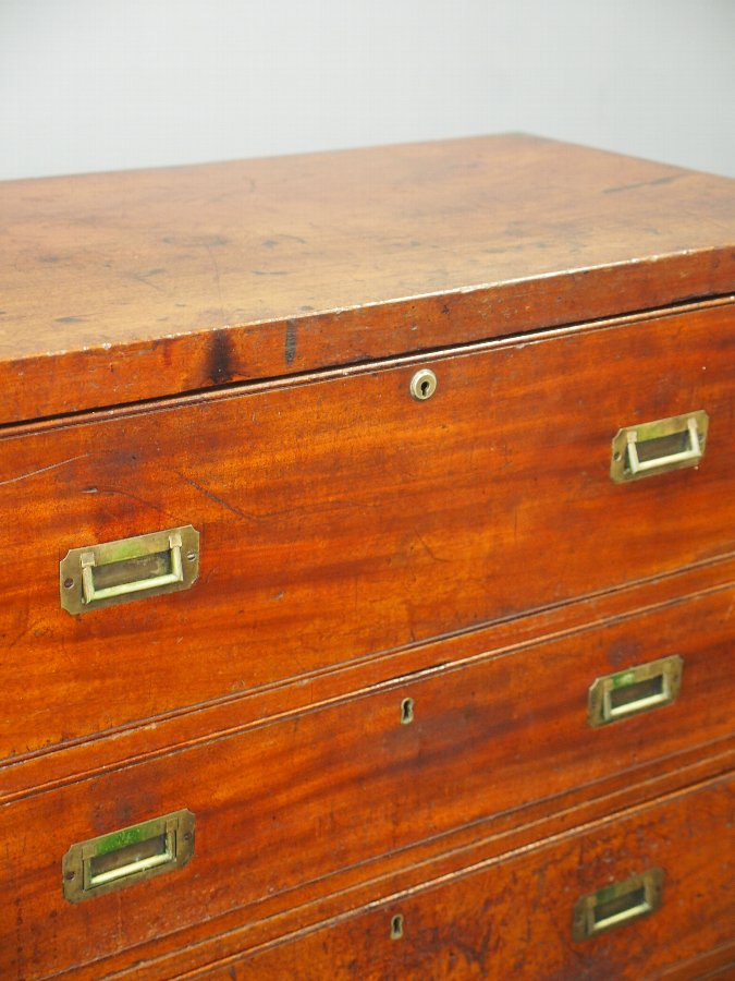 Antique Victorian Teak Secretaire Military Chest