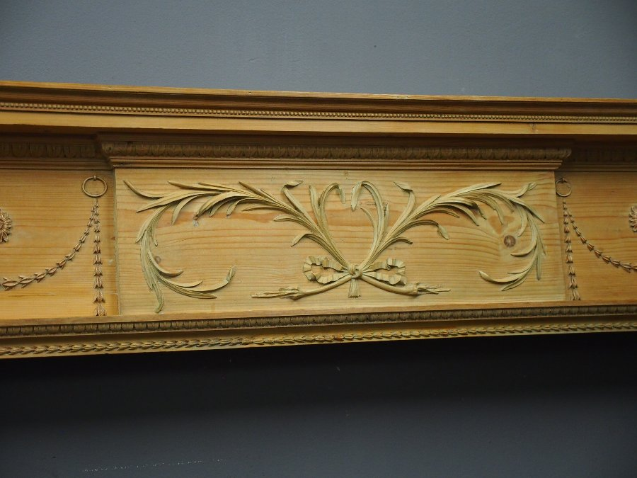 Antique George III Pine Carved Mantelpiece