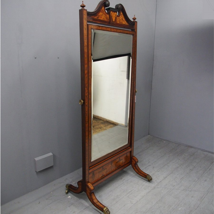 Victorian Inlaid Satinwood and Mahogany Cheval Mirror