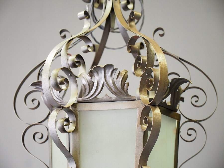 Antique Pair of Polished Steel Lanterns