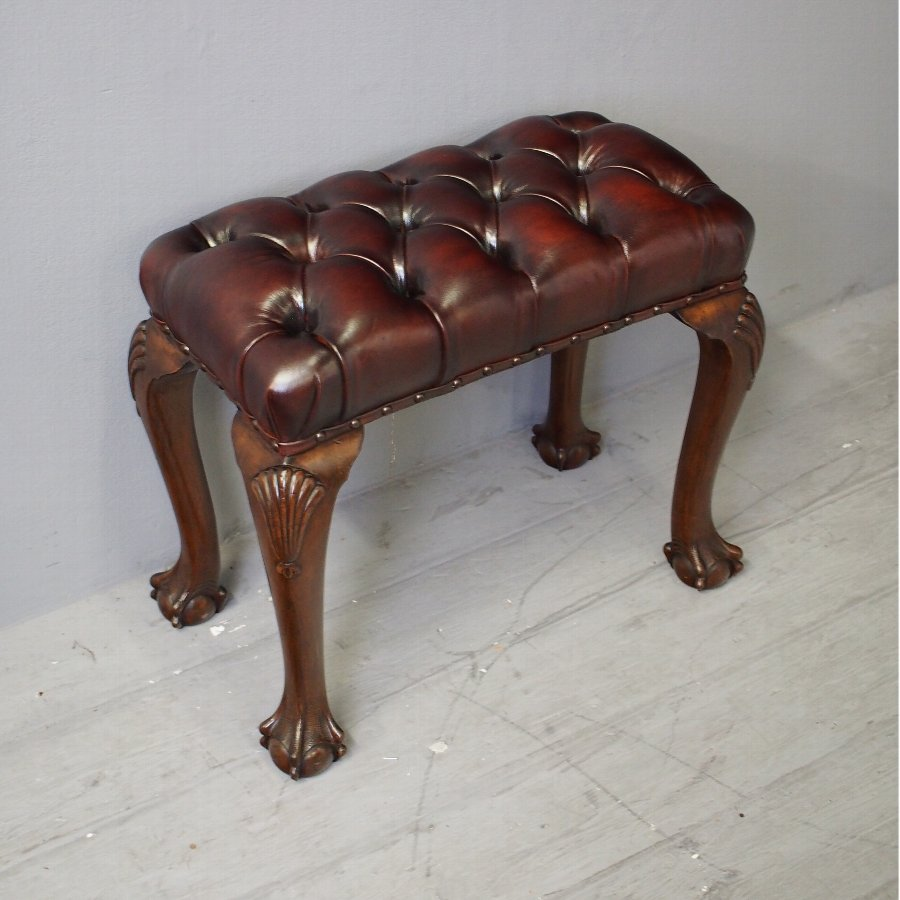 George III Style Mahogany and Burgundy Leather Stool