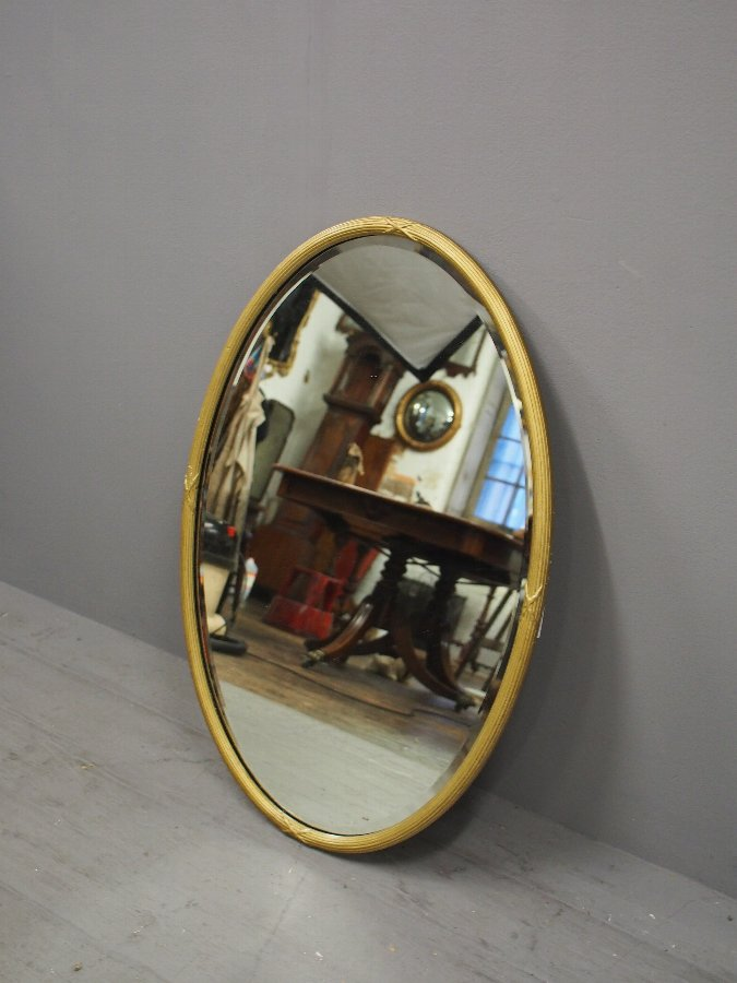 Antique Adams Style Oval Wall Mirror