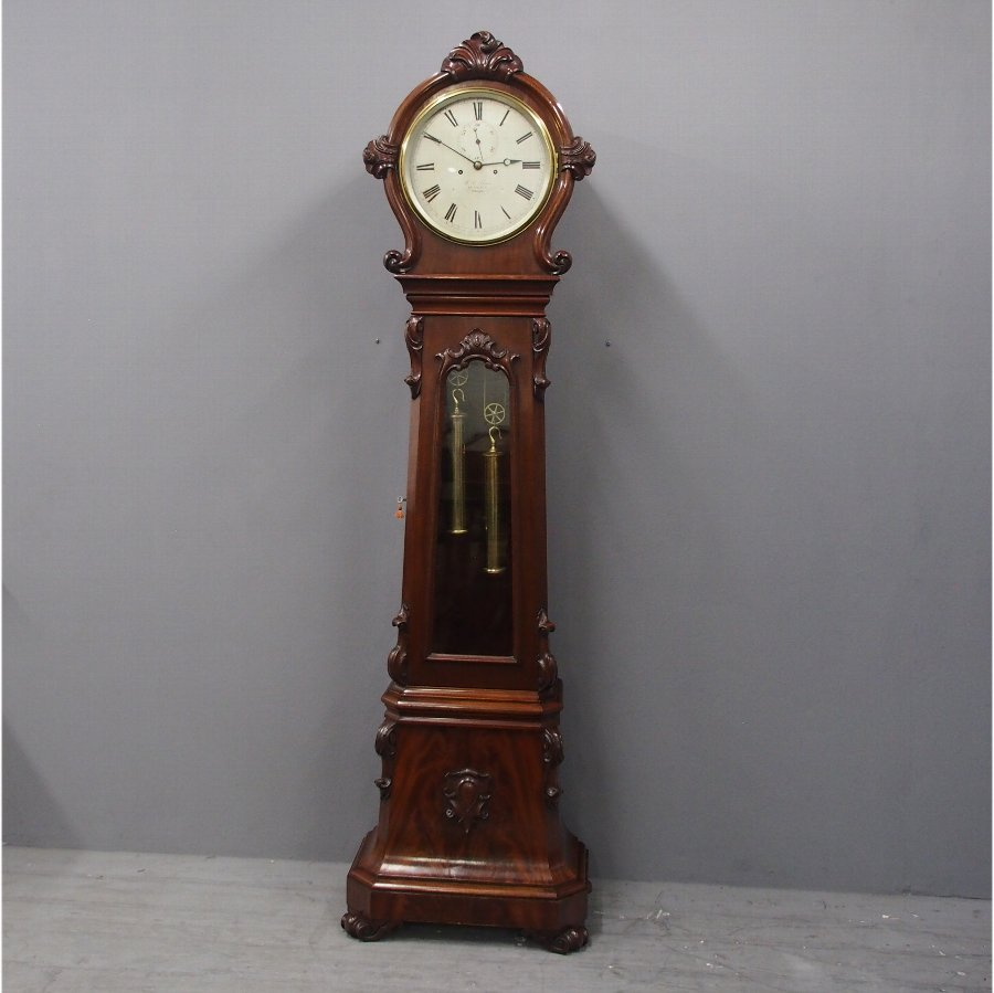 Victorian Mahogany Drum Head Longcase Clock by W. C. Shaw, Glasgow