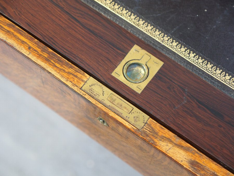 Antique Oak and Brass Bound Secretaire Campaign Chest