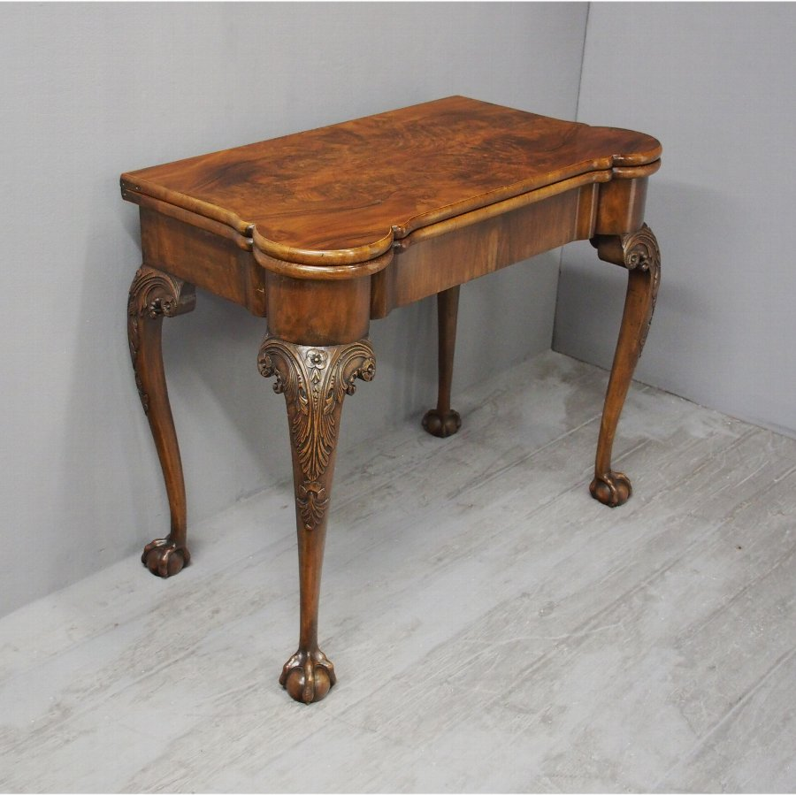 Georgian Style Walnut Foldover Games Table