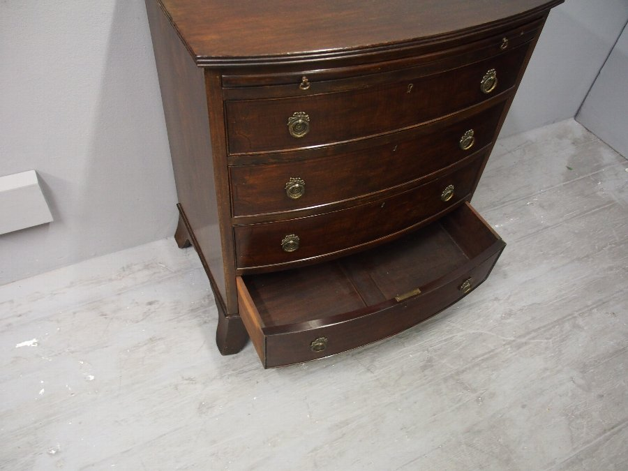 Antique George III Style Mahogany Bow-front Chest of Drawers