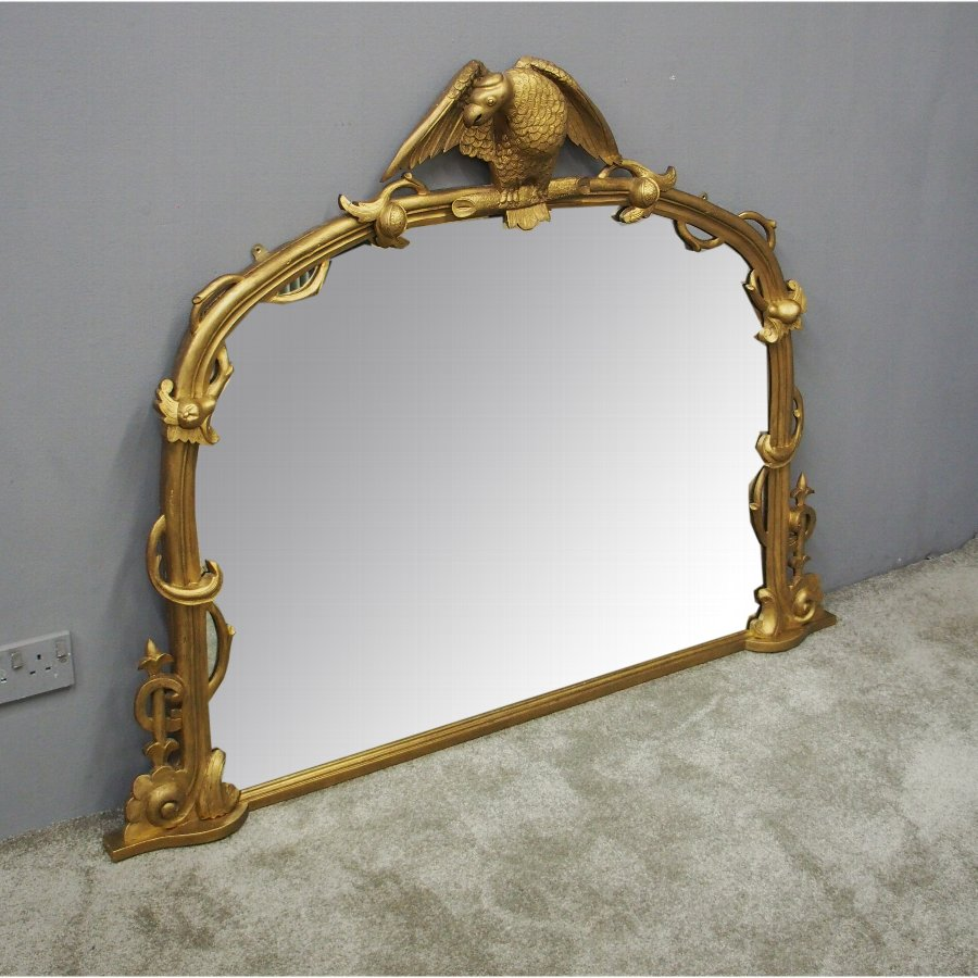 Carved Giltwood Bird Design Overmantel Mirror