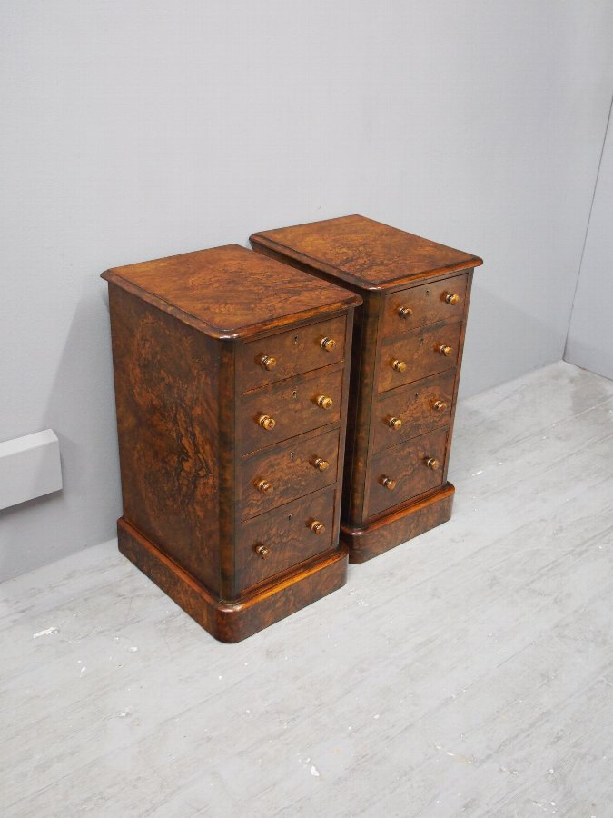 Antique Pair of Victorian Burr Walnut Bedsides