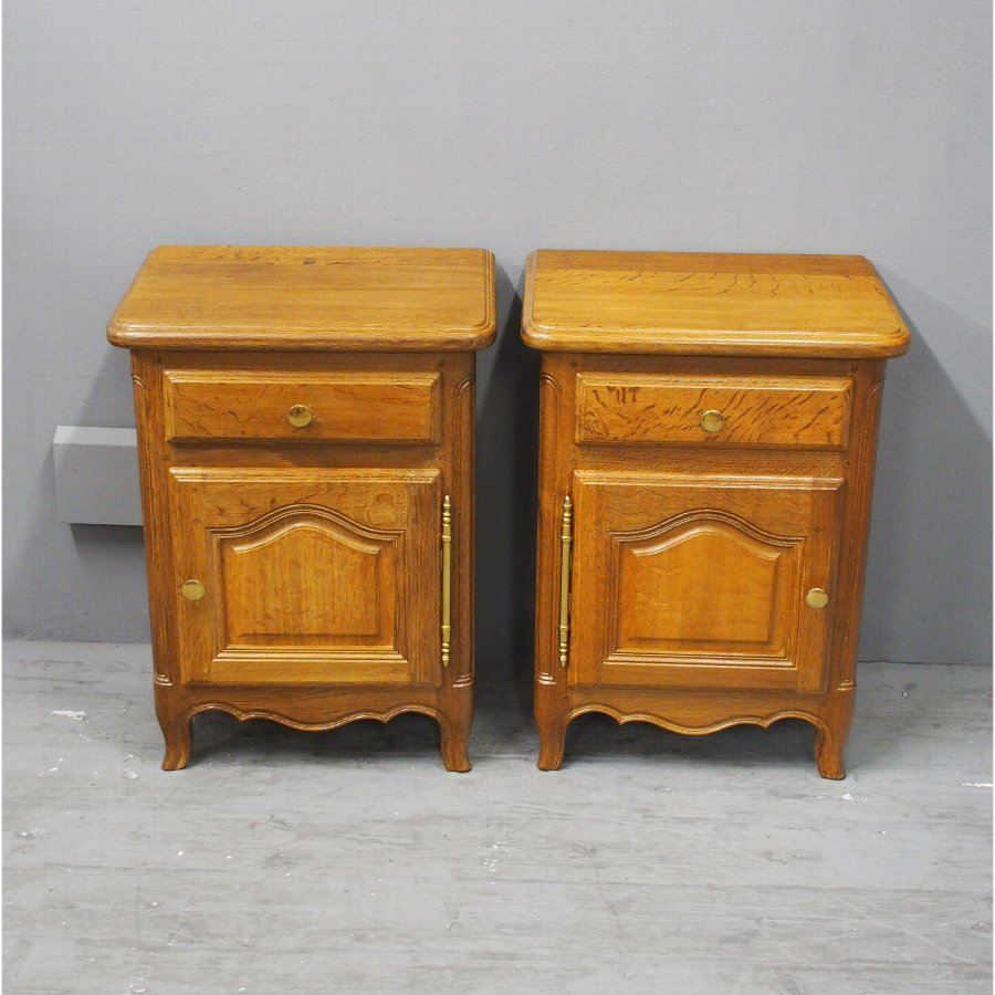 Pair of Small French Oak Bedside Lockers
