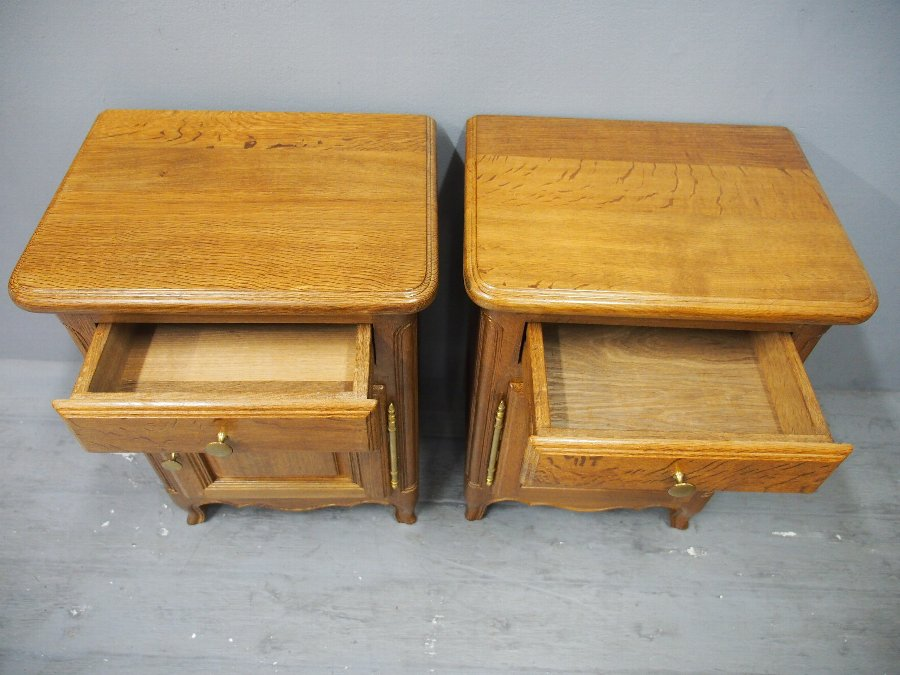 Antique Pair of Small French Oak Bedside Lockers