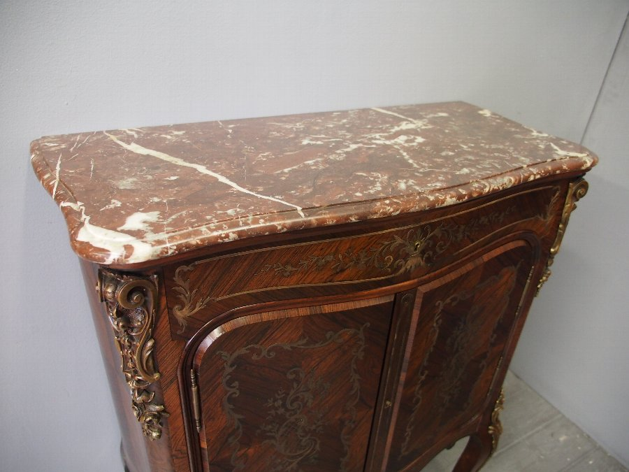 Antique French Serpentine Fronted Rosewood Cabinet