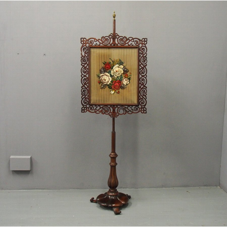 Mid Victorian Rosewood Embroidered Pole Screen