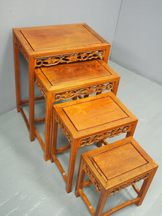 Antique Nest of 4 Chinese Occasional Tables