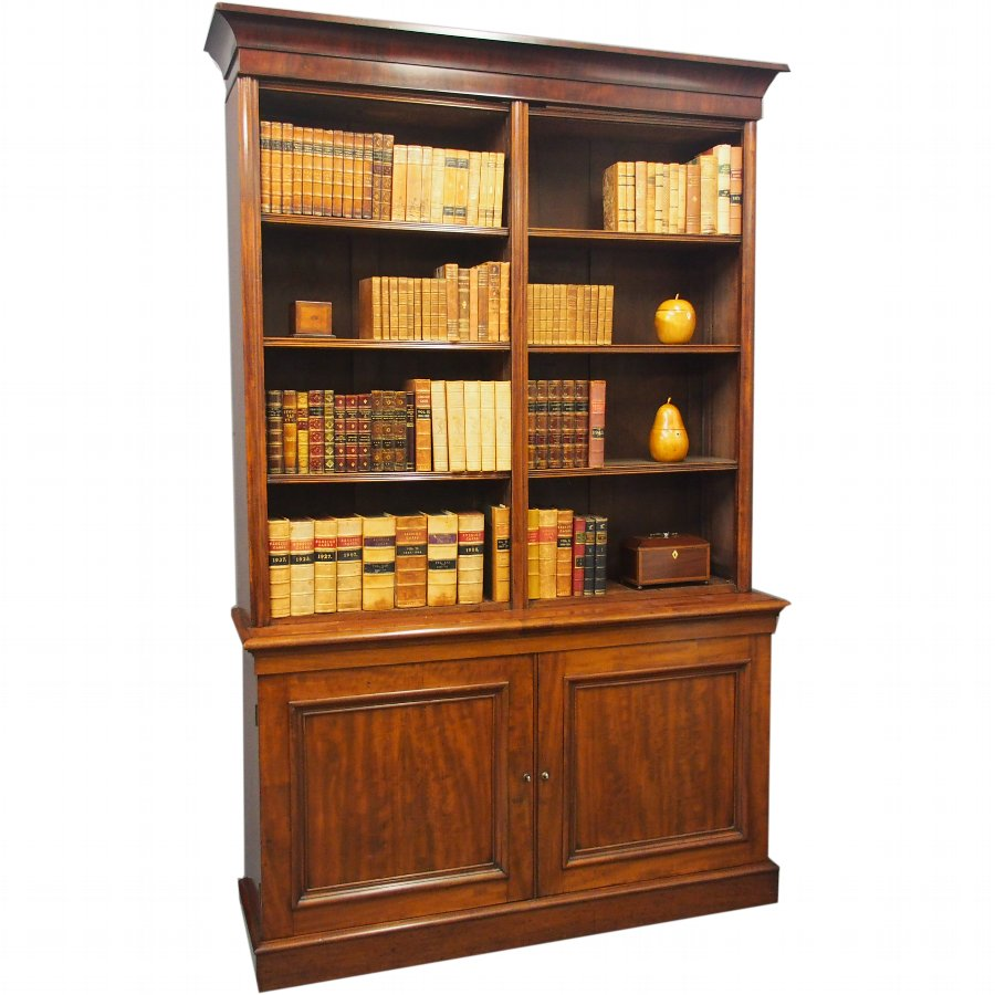 George IV Mahogany Two Part Open Bookcase