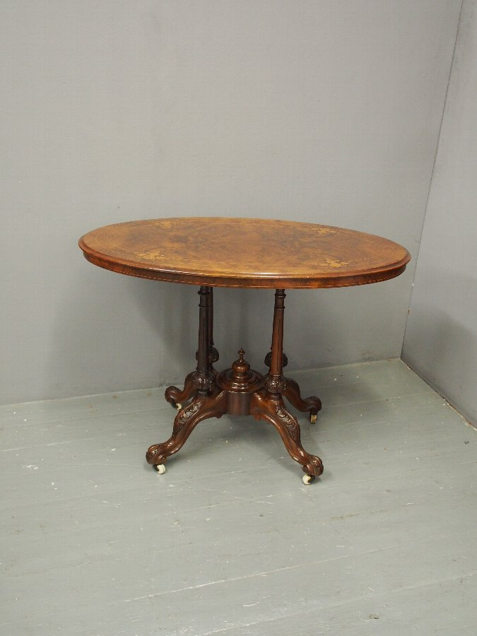 Antique Victorian Walnut and Inlaid Centre Table
