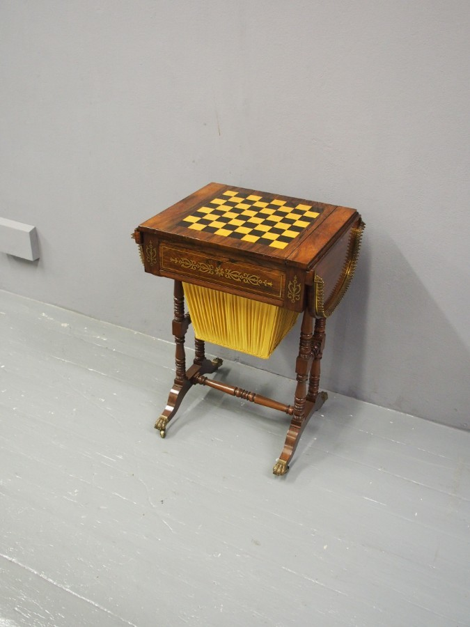 Antique Regency Brass and Inlaid Rosewood Games Table