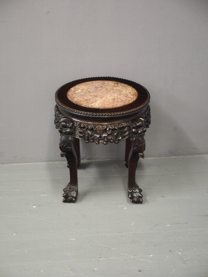 Antique Chinese Huanghuali and Pink Marble Stand
