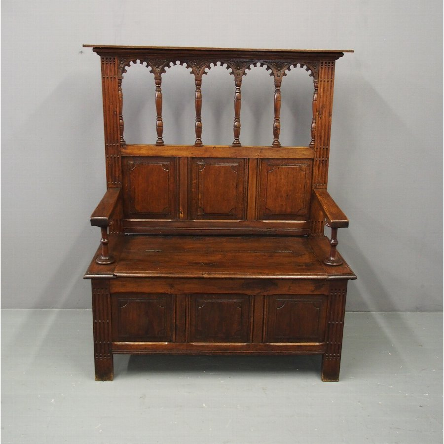 Gothic Style Oak Monks Bench
