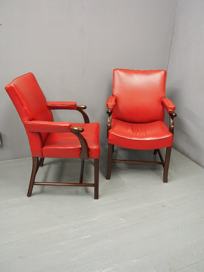 Antique Pair of Red Leather Chairs by Whytock and Reid