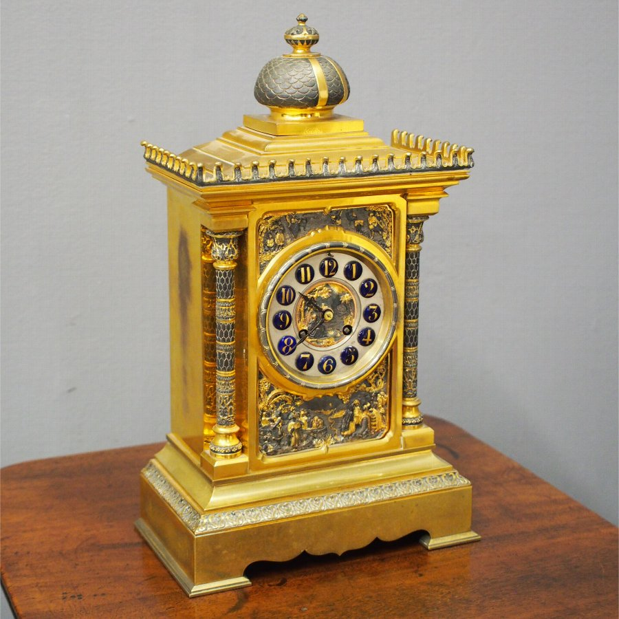 Victorian Cast Brass and Gilded Egyptian Design Clock